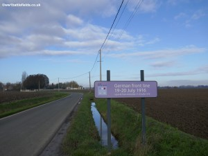 Sign marking the German frontline at Fromelles