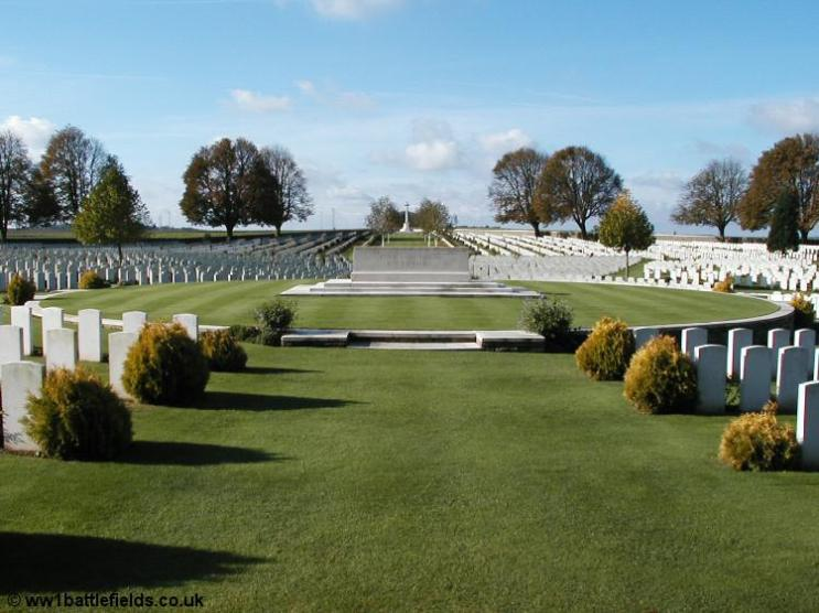 The attractive layout at Cabaret Rouge British Cemetery