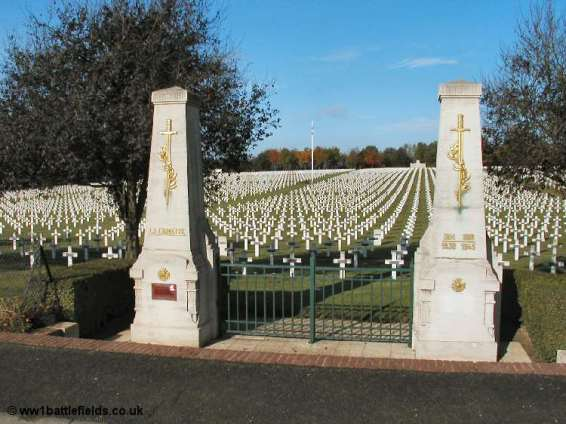 The gates to the French Cemetery at la Targette