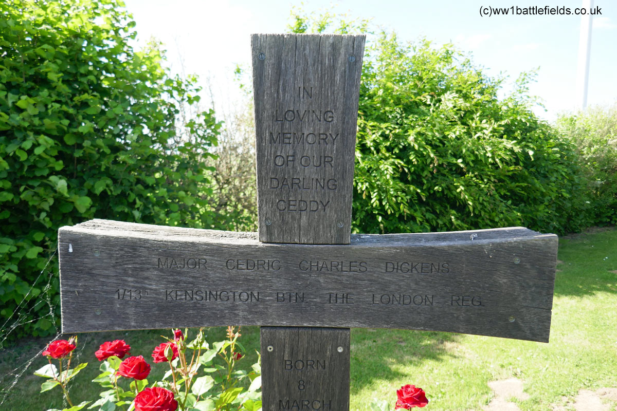 Inscription on the Dickens Cross