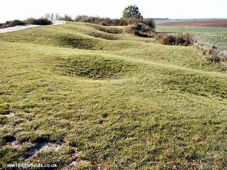 Remains of shellholes ground around the Lochnagar crater