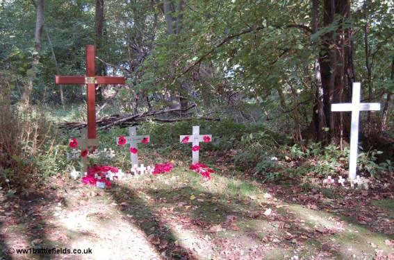 Memorials in the wood, near where Billy McFadzean won the VC