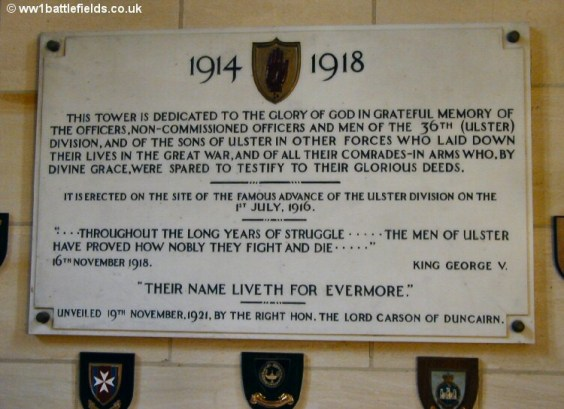 The plaque commemorating the opening of the Ulster Tower