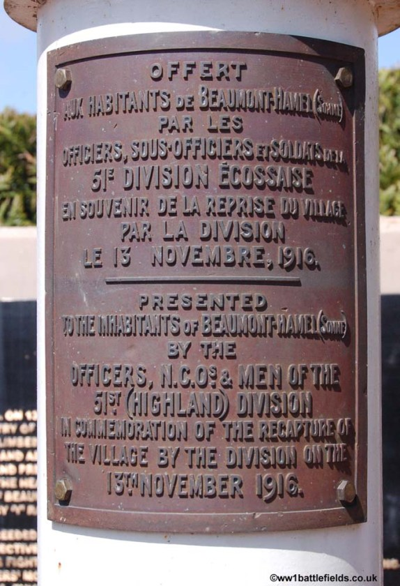 51st Division flagpole base in Beaumont Hamel