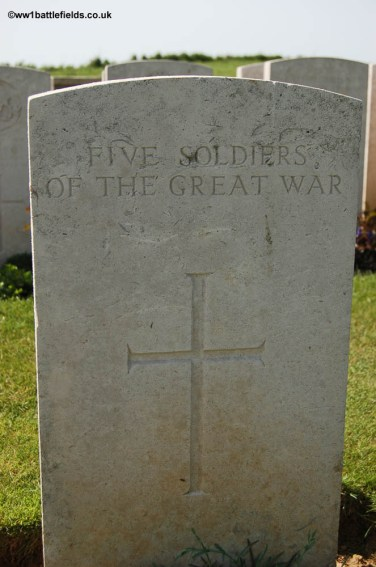 Headstone for five unknown soldiers