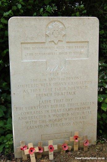 The inscription at Devonshire Cemetery