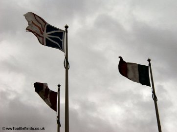 Flags flying above the Newfoundland Memorial Park