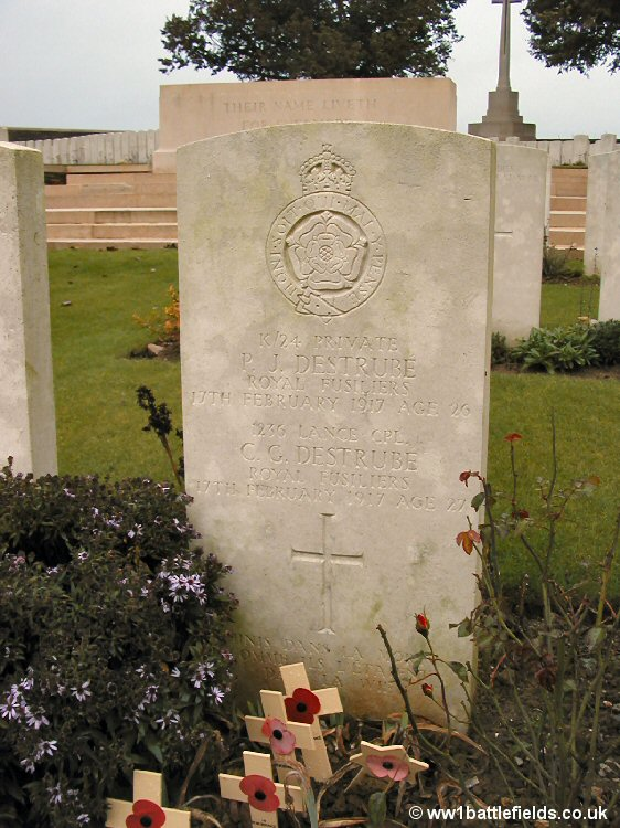 The double grave of the Destrube brothers at Serre Road No. 1 Cemetery