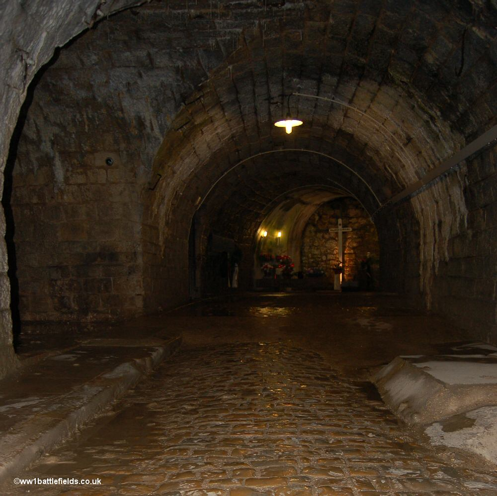 A cobbled section of the corridor leads to the 'German Cemetery'