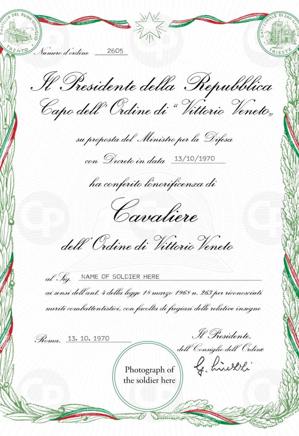 1. Cavaliere di Vittorio Veneto Diploma for printing - coloured wreath