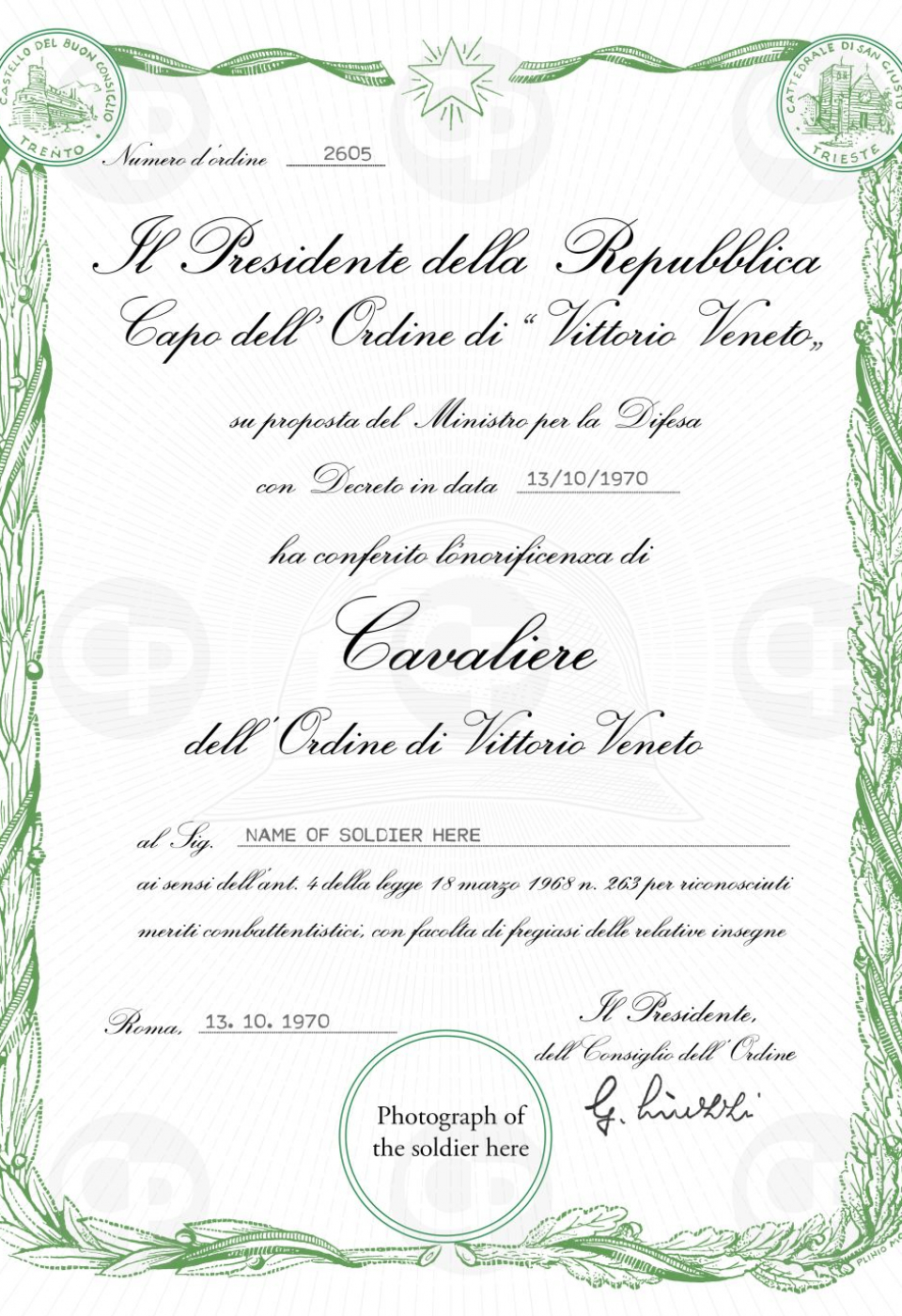 2. Cavaliere di Vittorio Veneto Diploma for printing - original