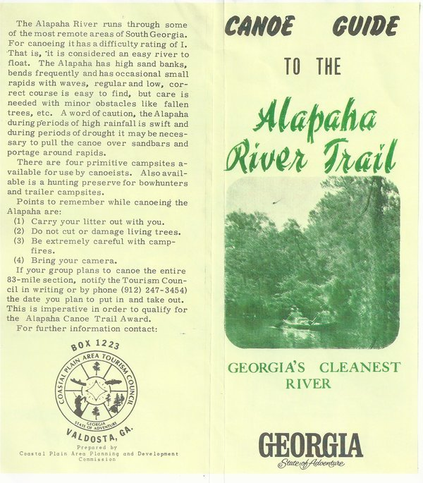 600x685 Georgias Cleanest River, in Canoe Guide to the Alapaha River Trail, by John S. Quarterman, for WWALS.net, 0  1979