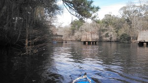 300x169 8-foot kayak and railroad pier, in Alapaha deadfalls, by John S. Quarterman, for WWALS.net, 17 January 2015