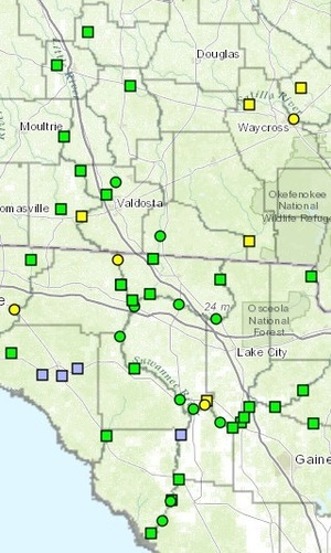 300x501 Suwannee Basin Gauges, in Withlacoochee River Gauges, by NWS, for WWALS.net, 7 March 2015