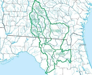 300x243 HUC 031102 Suwannee Basin, in Suwannee Region HUC, by USGS, for WWALS.net, 14 June 2015