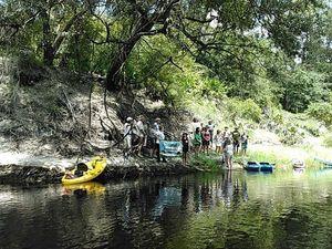 Boats at Sabal Trail survey flag 30.4070911, -83.1565857