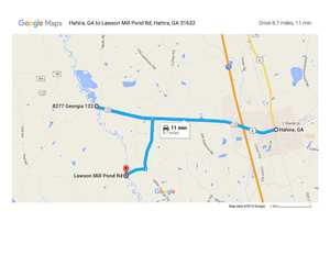 Hahira on GA 122 to Little River, to Lawson Mill Pond Road