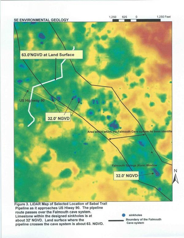 Figure 3. LiDAR Map of Selected Location of Sabal Trail (US 90)