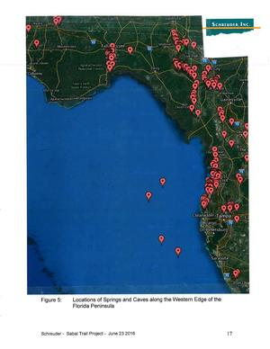 Figure 5: Locations of Springs and Caves along the Western Edge of the Florida Peninsula