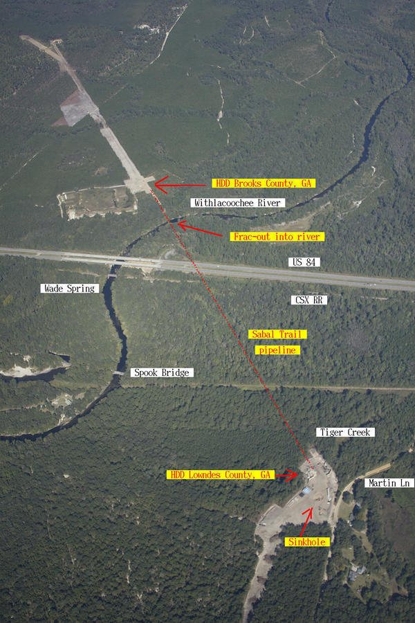 Sabal Trail frac-out and sinkhole, Withlacoochee River, GA