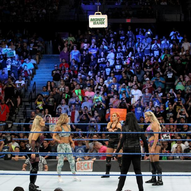Charlotte Flair, Becky Lynch, Carmella, Natalya and Tamina prepare to square off in the second-ever Women's Money in the Bank Ladder Match!