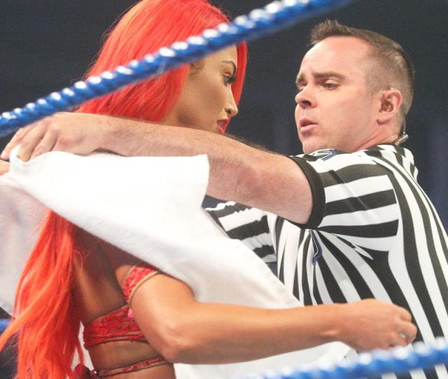 Eva Marie Experiences A Wardrobe Malfunction Prior To Her Match Against Becky Lynch Smackdown Live Aug 9 2016 Wwe