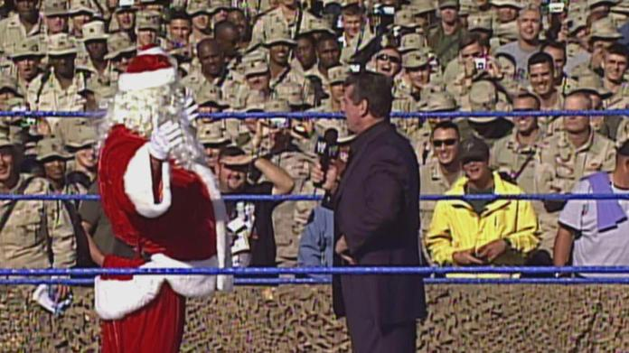 "Stone Cold"" Steve Austin stuns Mr. McMahon ... dressed as Santa Claus:  Tribute to the Troops 2003 