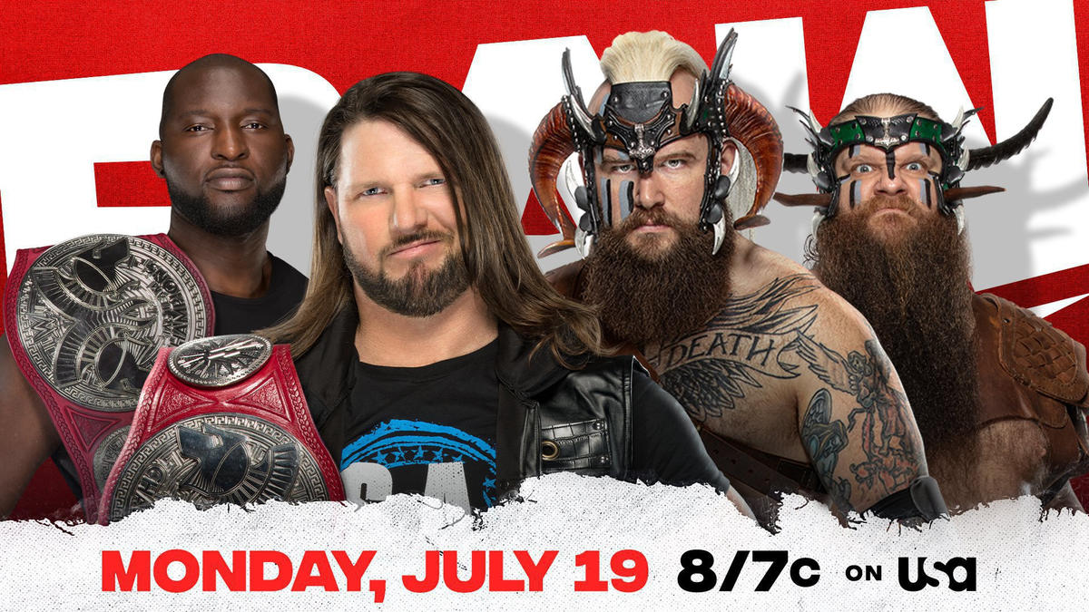 AJ Styles & Omos defend the Raw Tag Team Titles against The Viking Raiders in front of a live audience