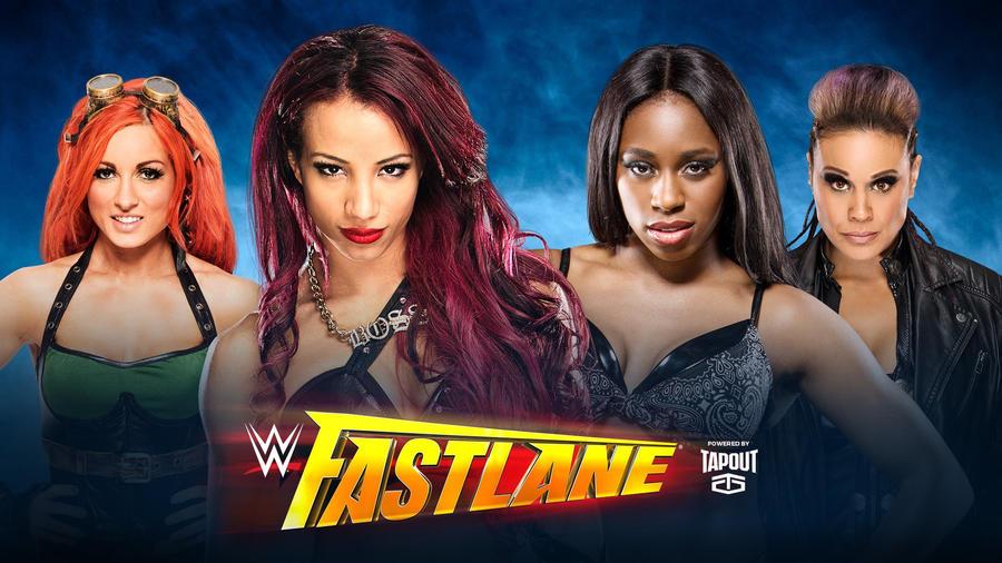 Image result for Becky Lynch and Sasha Banks vs. Team Bad – Fastlane