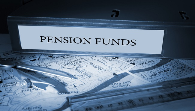 Pension funds on blue business binder_500695