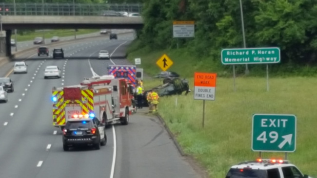 Rollover accident near Exit 49 in Enfield causing delays