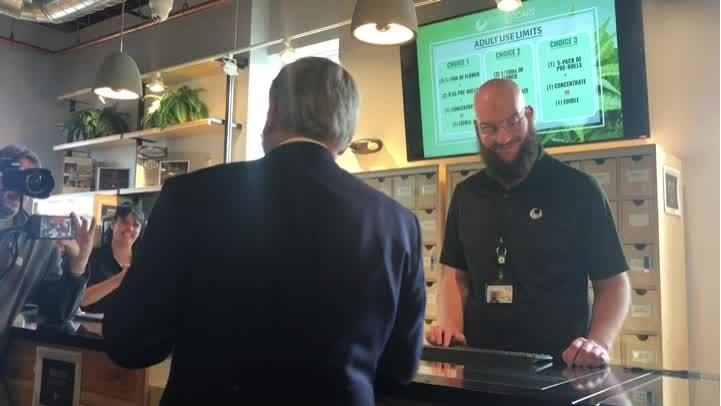 Greenfield Mayor William Martin first to make recreational marijuana purchase at Patriot Care
