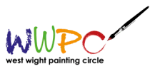 West Wight Painting Circle Logo. WWPC letters with paint brush