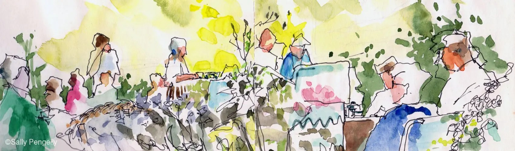 Sketch by Sally Pengelly - Painting Out Day Totland & 40th Celebrations