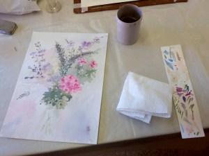 Mary Lord watercolour washes at the autumn painting class with the west wight painting circle