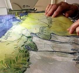 Diana Parsons April Workshop Landscape on Lutrador with stitch