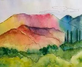 Val Cranwell IOW artist sketch of mountains