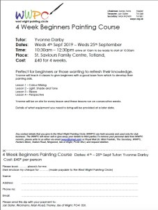 Image of beginners painting course for September 2019 with Yvonne Darby