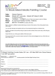 Image of application form for WWPC classes Jan 2020
