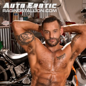 David Benjamin topless leaning on an motorcycle