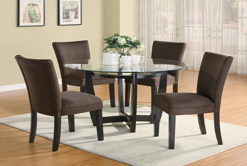 Furniture Outlet Round Tempered Glass Dining Table Set