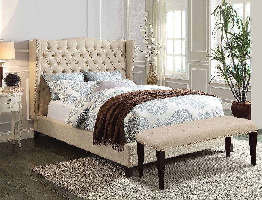 Acme Furniture Beige Wingback Tufted Nailhead Trim