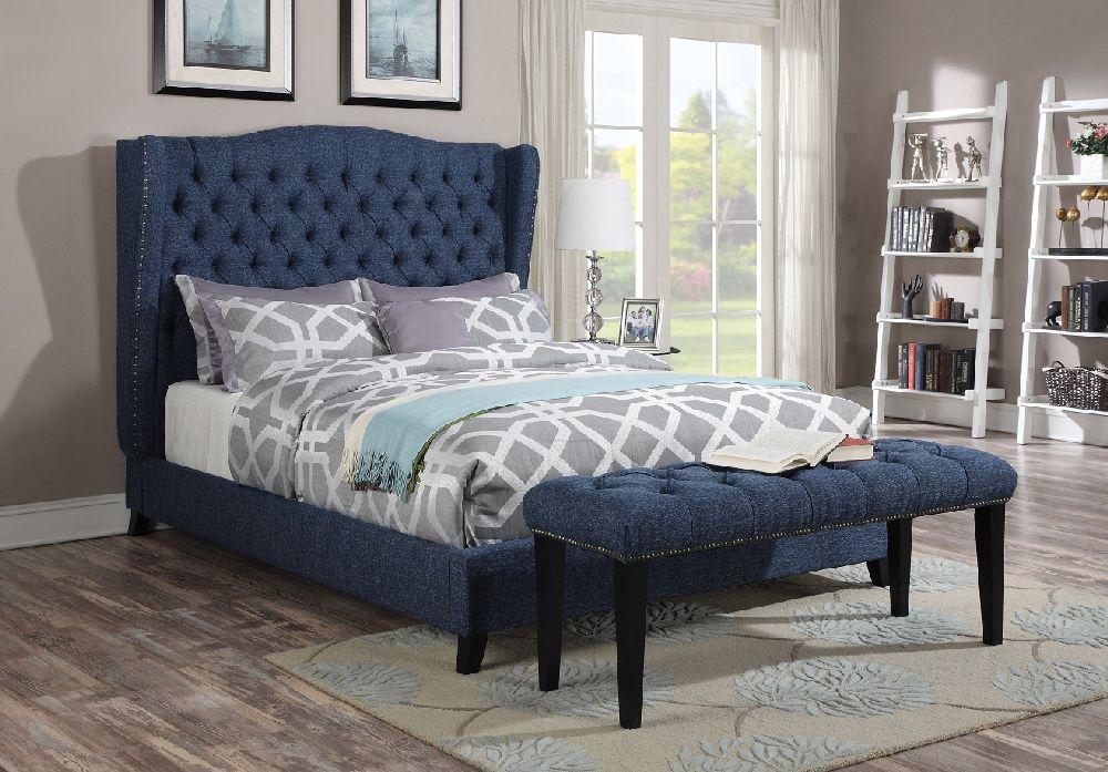 Acme Furniture 20880 Faye Blue Wingback Tufted Nailhead