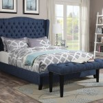 Acme Furniture 20880 Faye Blue Wingback Tufted Nailhead Trim Platform Queen Bed Frame