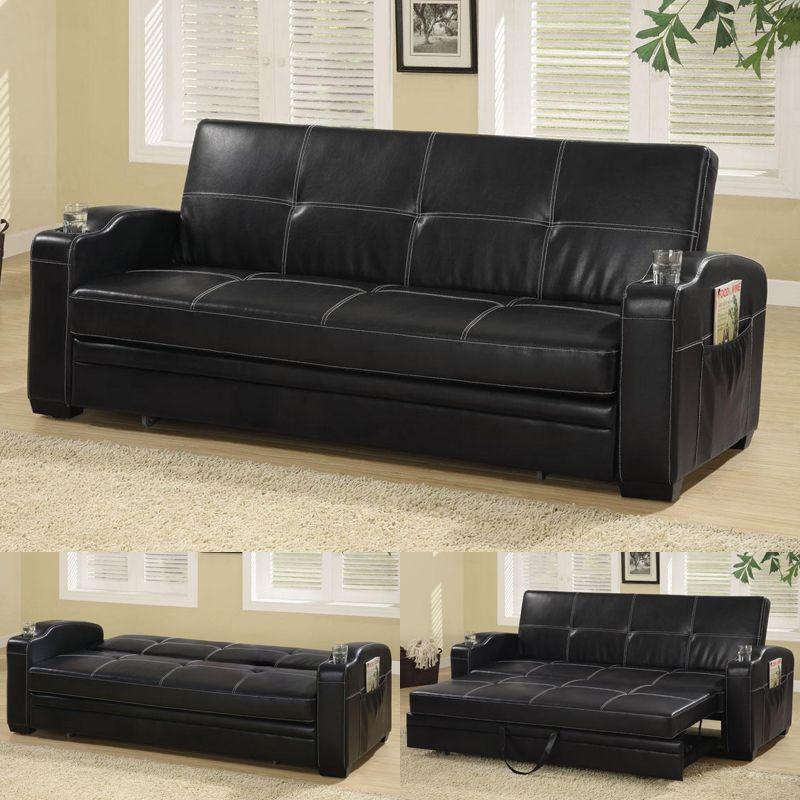 Coaster Furniture 300132 Black Pull Out Futon Sleeper Sofa Bed