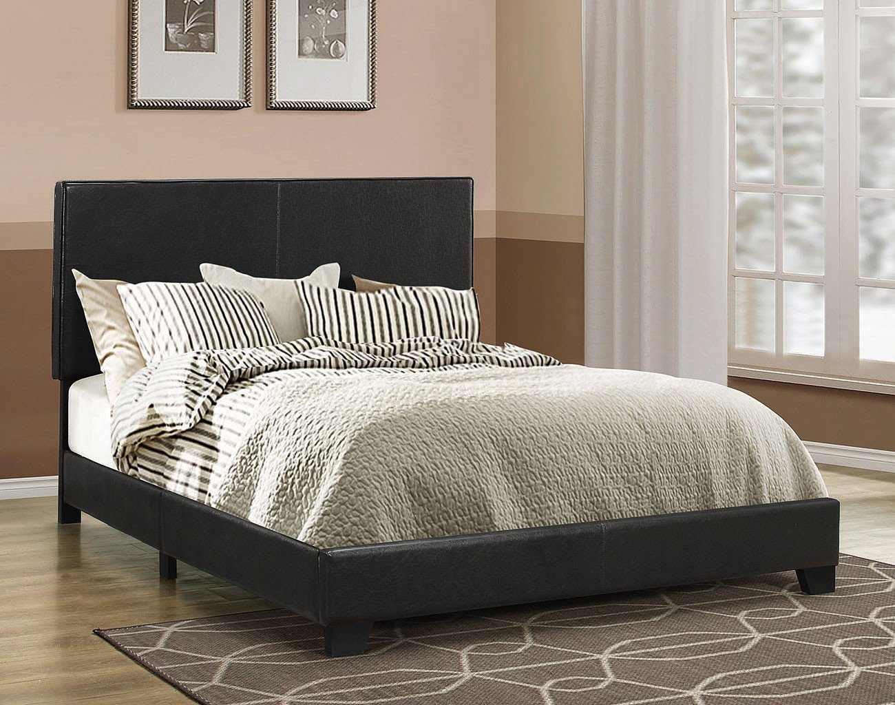 California King Black Leatherette Bed Frame Solid