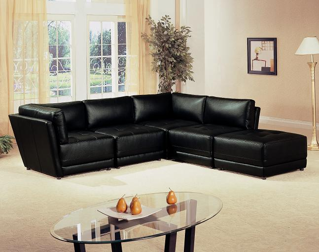 Furniture Outlet Black Modular Sectional Sofa Set
