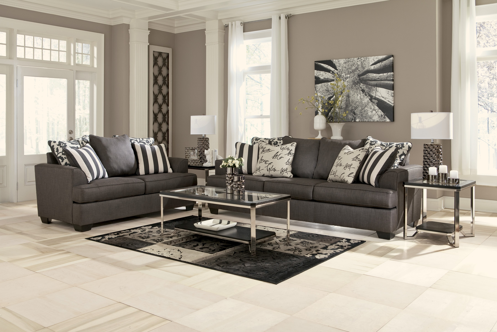 Levon Collection Charcoal Sofa Amp Loveseat Set