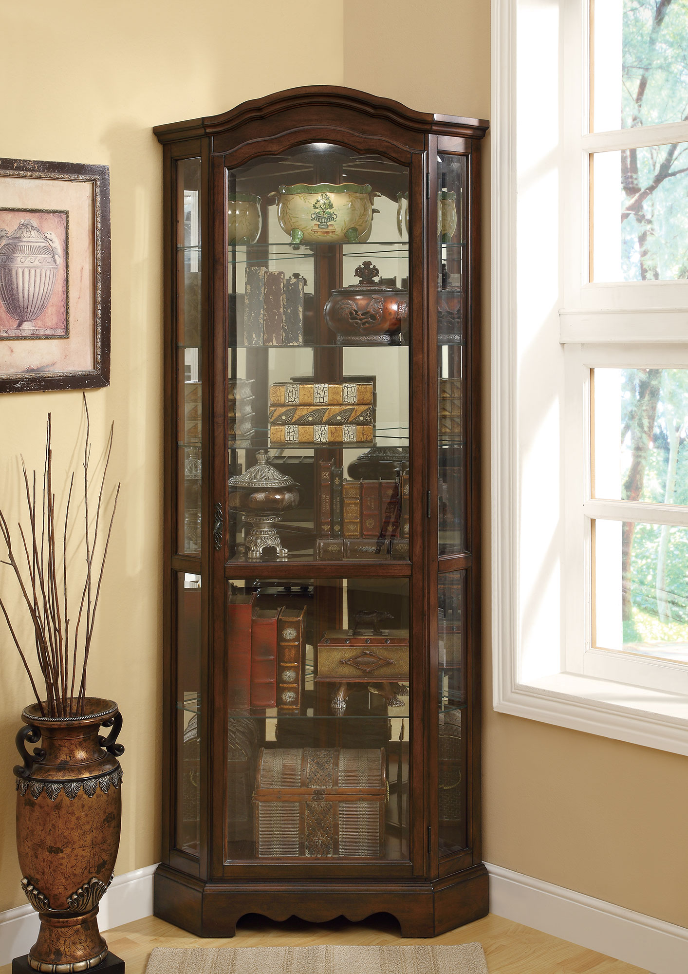 Coaster 950175 Rich Brown Corner Curio Cabinet with Canned ... on Corner Sconce Shelf Cabinet id=16554