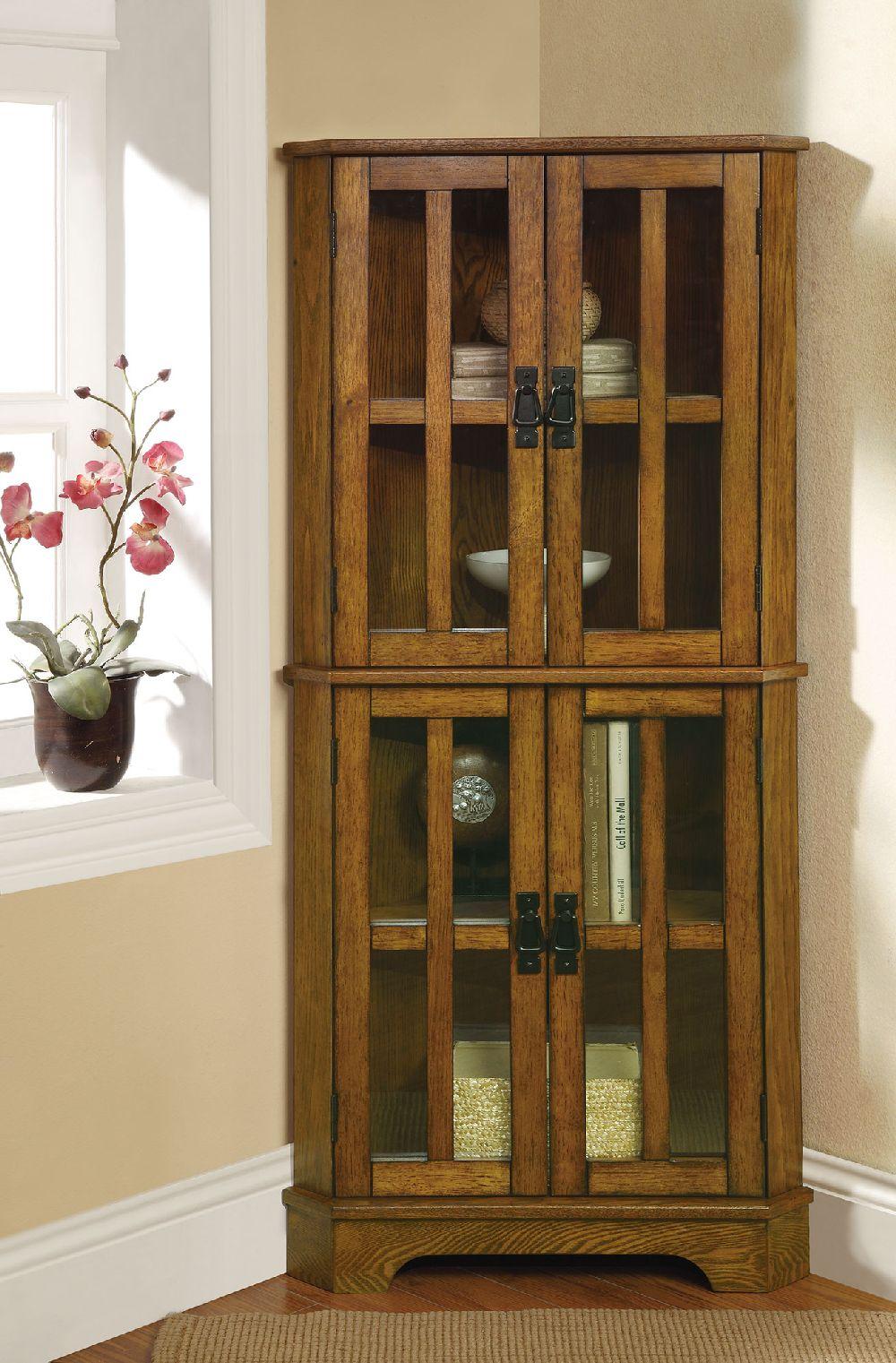 Coaster 950185 Golden Brown Curio with Window Panel Doors on Corner Sconce Shelf Cabinet id=13746